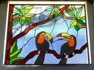 Toucans, glas in lood